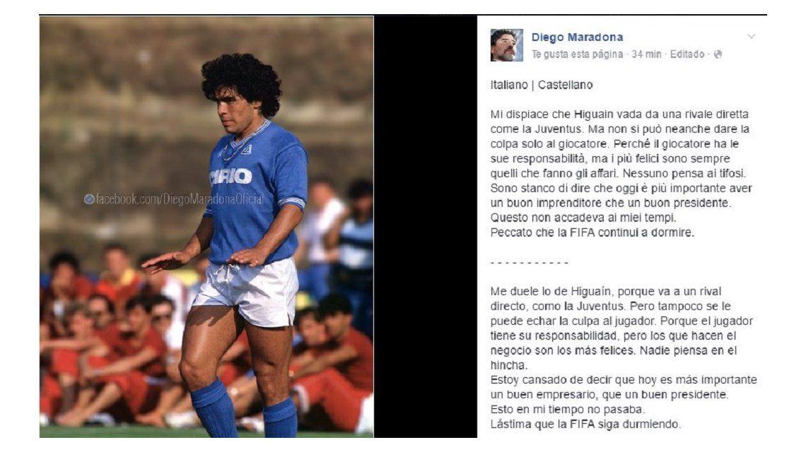 Maradona sobre Higuaín: Me duele... pero tampoco se le puede echar la culpa