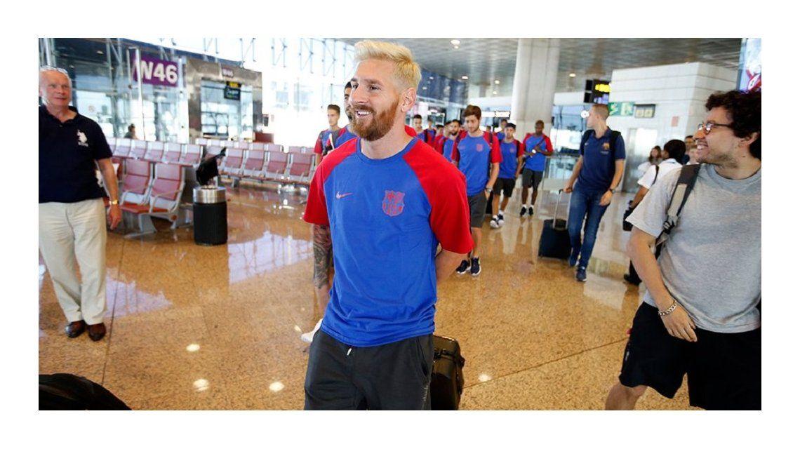El rubio Lionel Messi se sumó a la pretemporada con el Barcelona