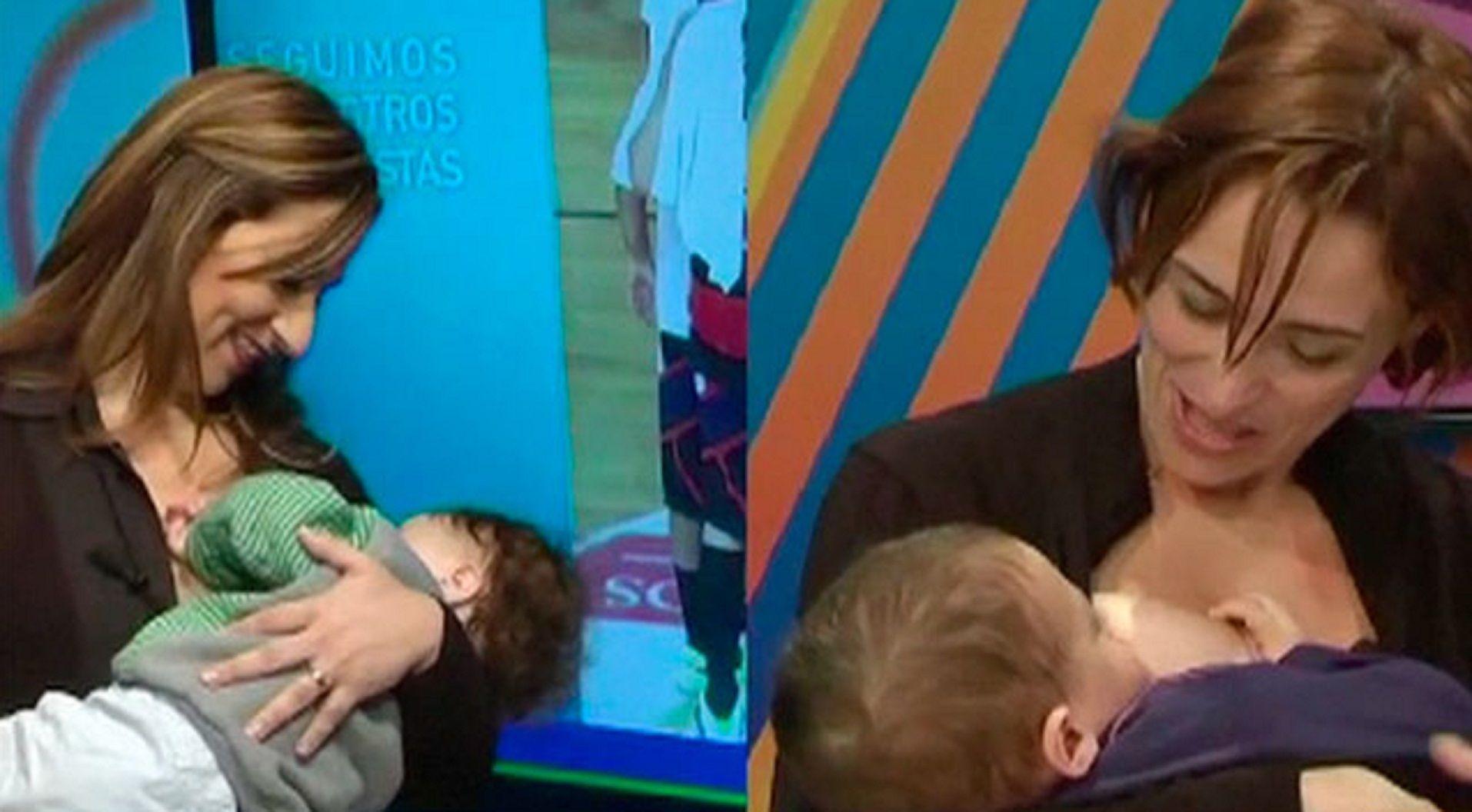 #Teteadamasiva Conductoras de un noticiero de TV amamantaron a sus hijos en vivo