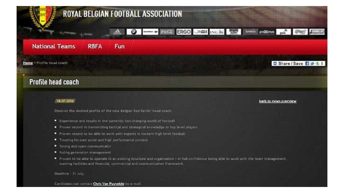 Mandá tu CV: Bélgica busca director técnico a través de su página web