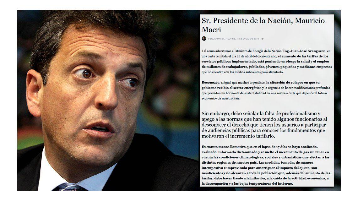 La carta de Massa a Macri por el tarifazo: Fue un error serio