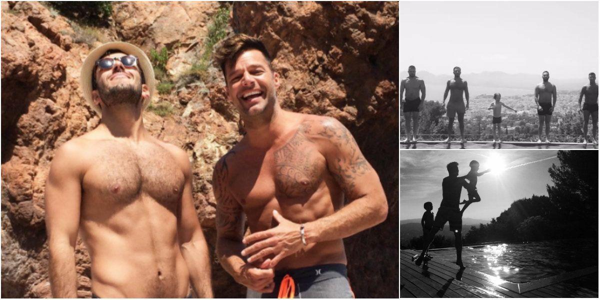Las divertidas vacaciones de Ricky Martin con sus hijos y su novio