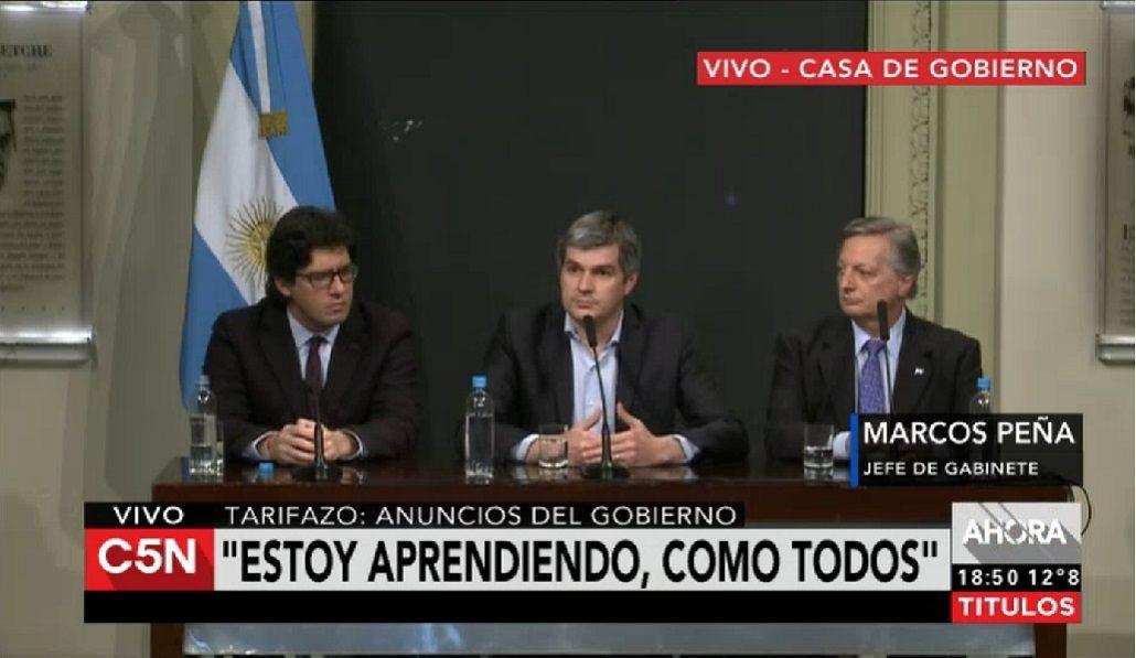 La confesión de Marcos Peña: Estoy aprendiendo del tema del gas
