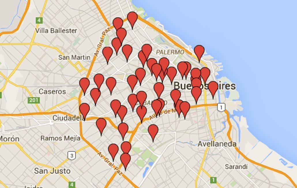 Los puntos de la ciudad en los que se concentró el cacerolazo contra el tarifazo