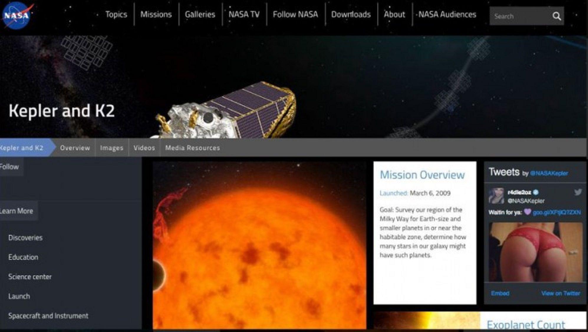Por error, La NASA publicó una foto hot en su web