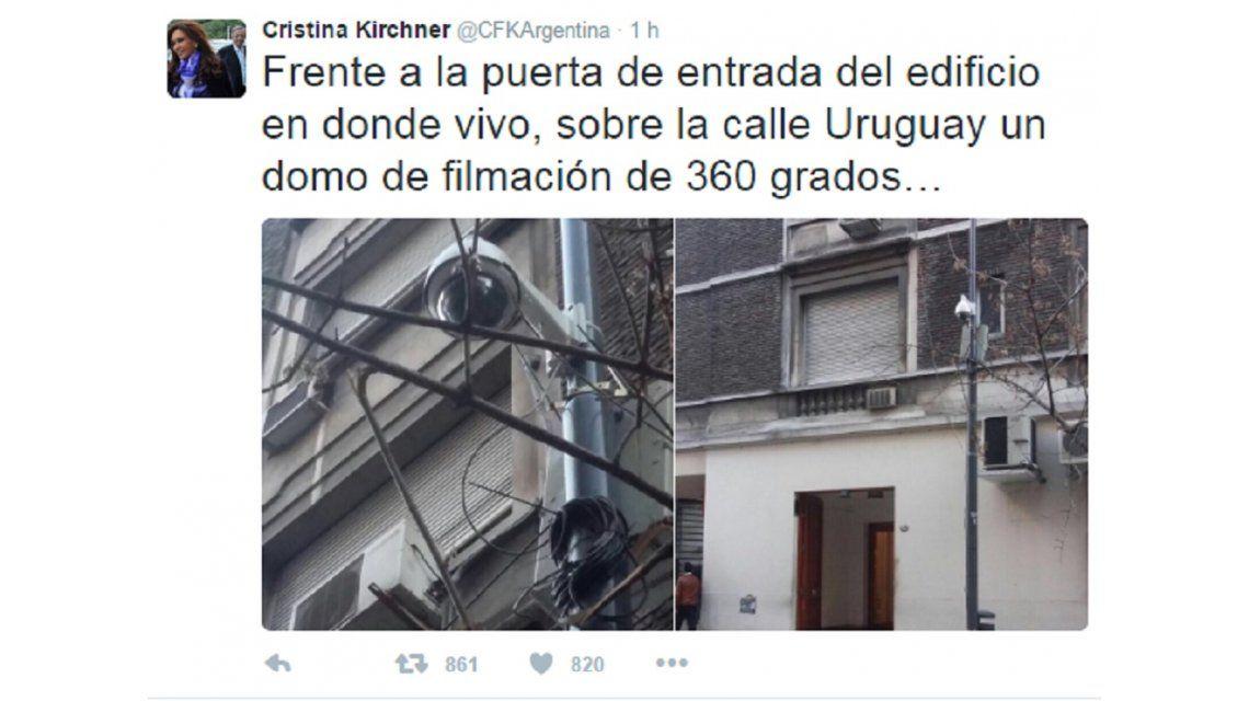 Cristina denunció que pusieron cámaras frente a su edificio y que la siguen