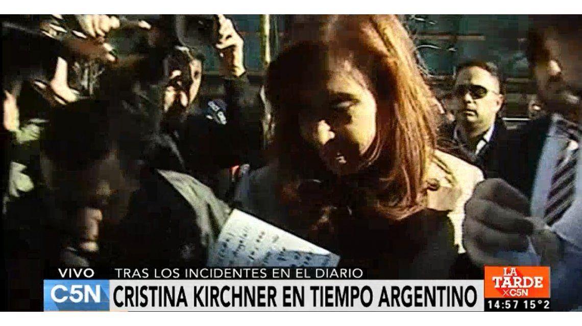 VIDEO: Cristina visitó la redacción atacada de Tiempo Argentino