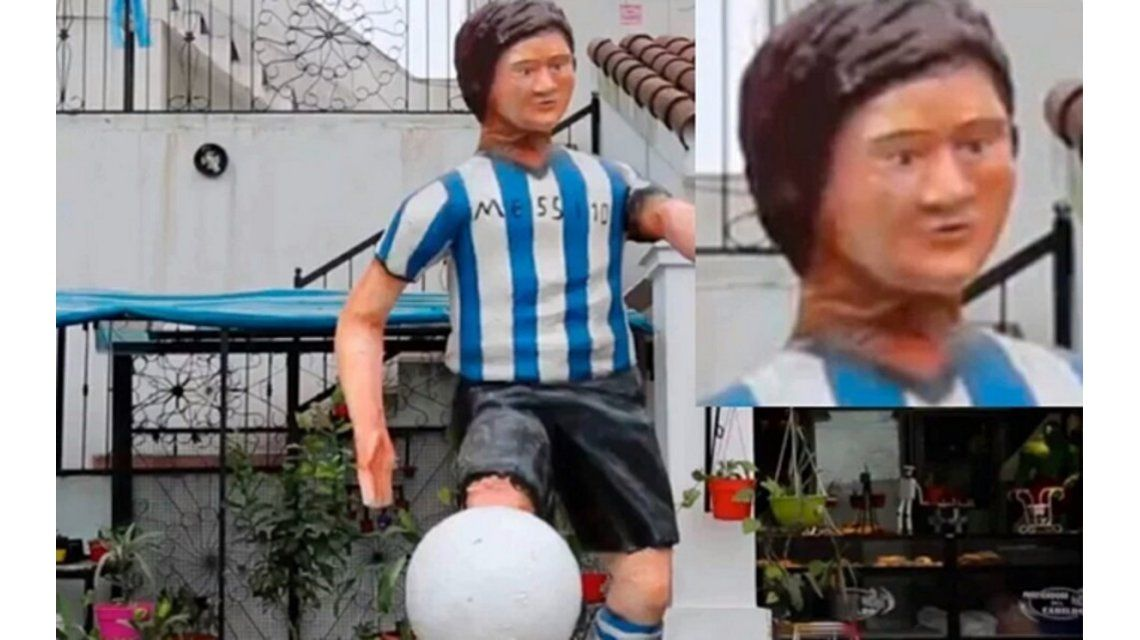 Furor en las redes por la llamativa estatua de Messi en Tucumán