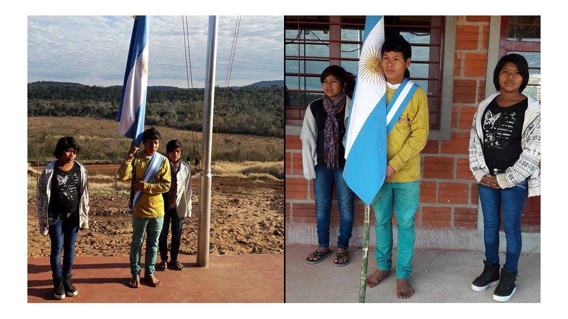Triste: un abanderado en Misiones va al colegio descalzo