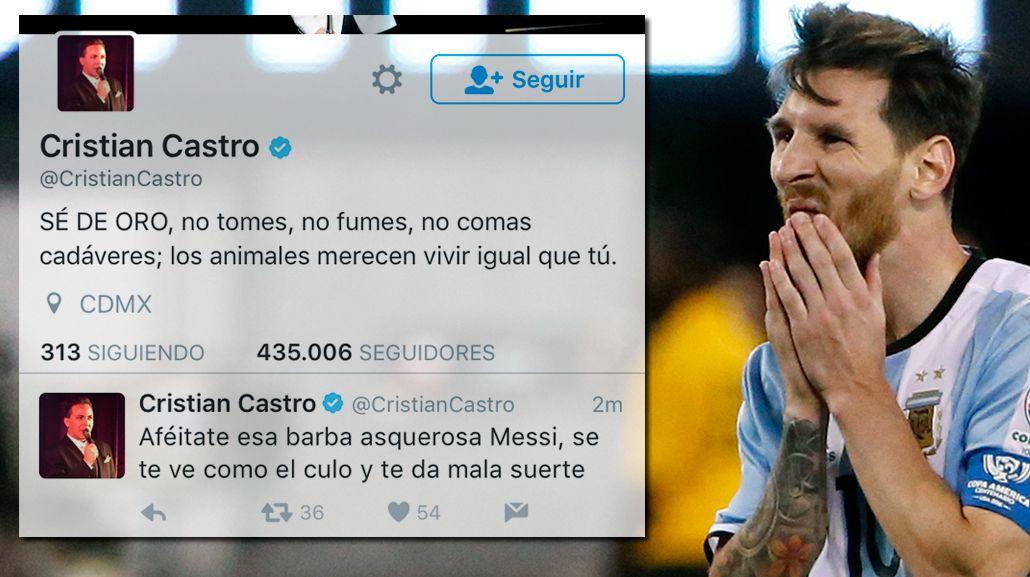 Cristian Castro criticó a Lionel Messi en Twitter y después se arrepintió