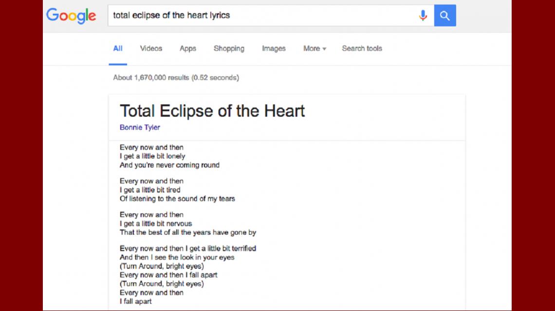 Ahora podrás ver letras de canciones en los resultados de Google