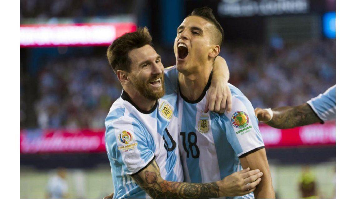 Lamela junto a Messi en la Copa América 2016