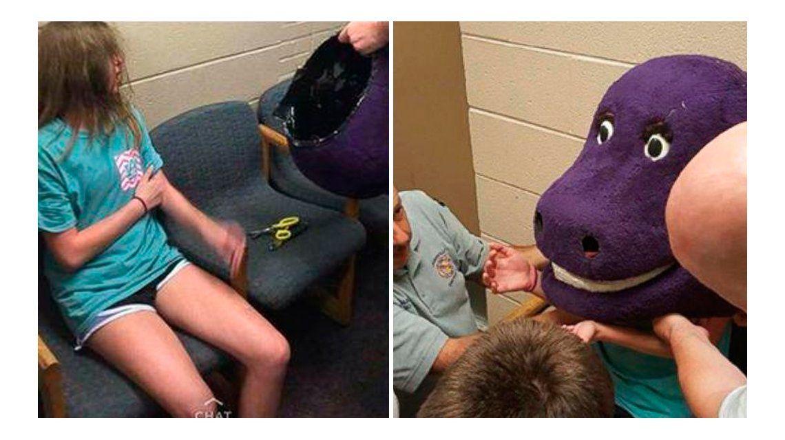 Le salió mal: quiso bromear a sus amigas con Barney, pero quedó atrapada