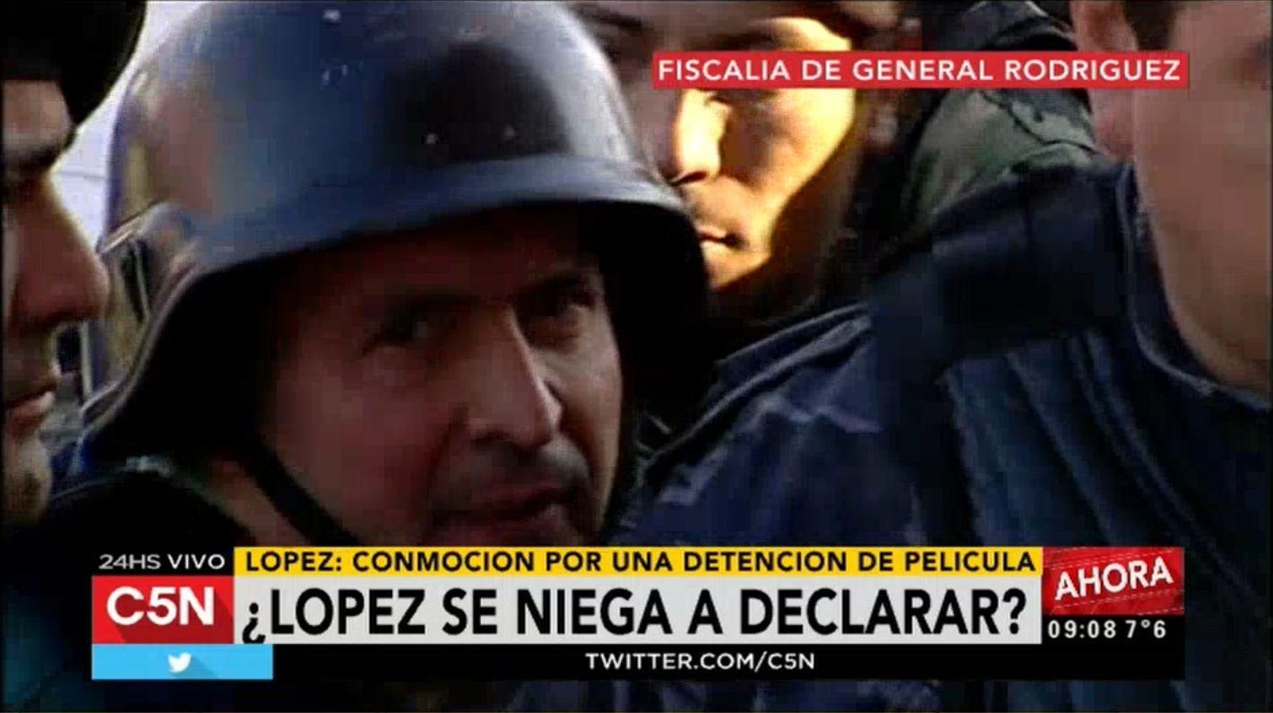 López llegó a la fiscalía de General Rodríguez para ser indagado