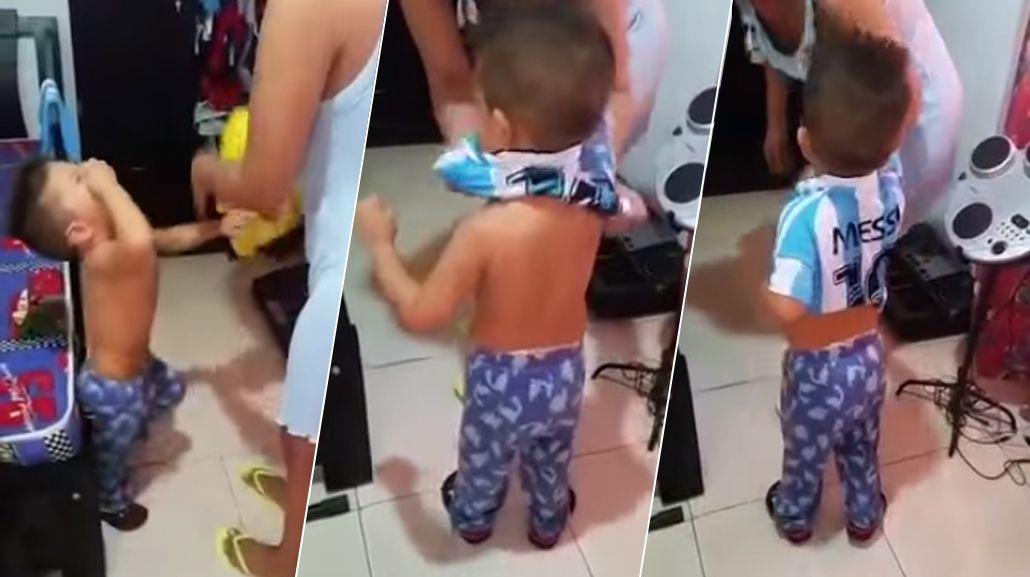 ¿Traición cafetera? El nene colombiano que sólo se calma con la camiseta de Messi