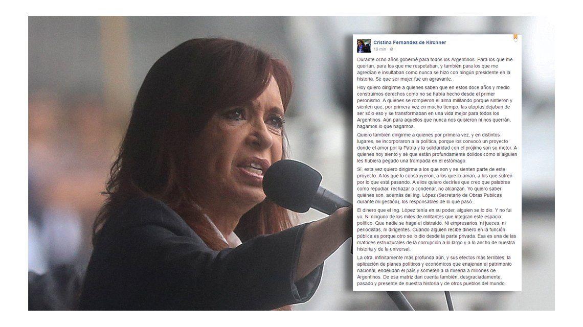 Cristina Kirchner: Yo quiero saber quiénes son, además de López, los responsables de lo que pasó