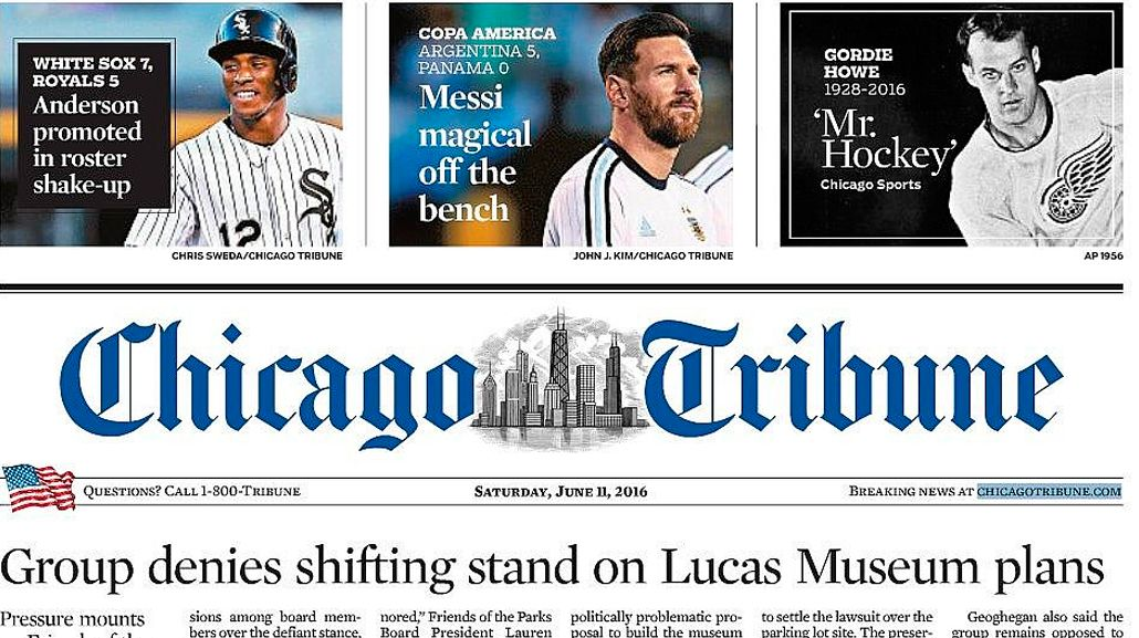 La magia de Messi alcanzó la portada del Chicago Tribune otra vez