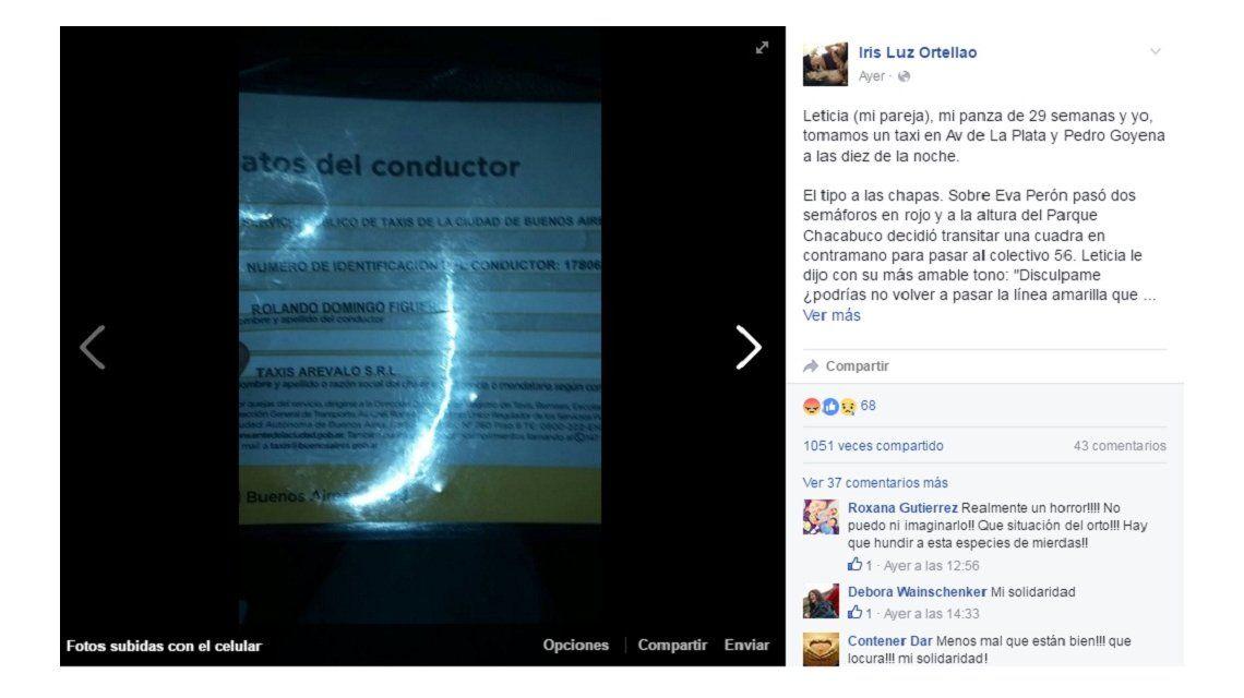 Embarazada escrachó por Facebook a un taxista fuera de control