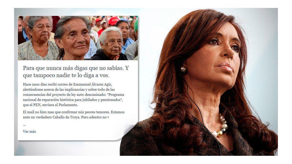Dura carta de Cristina contra el proyecto de pago a jubilados