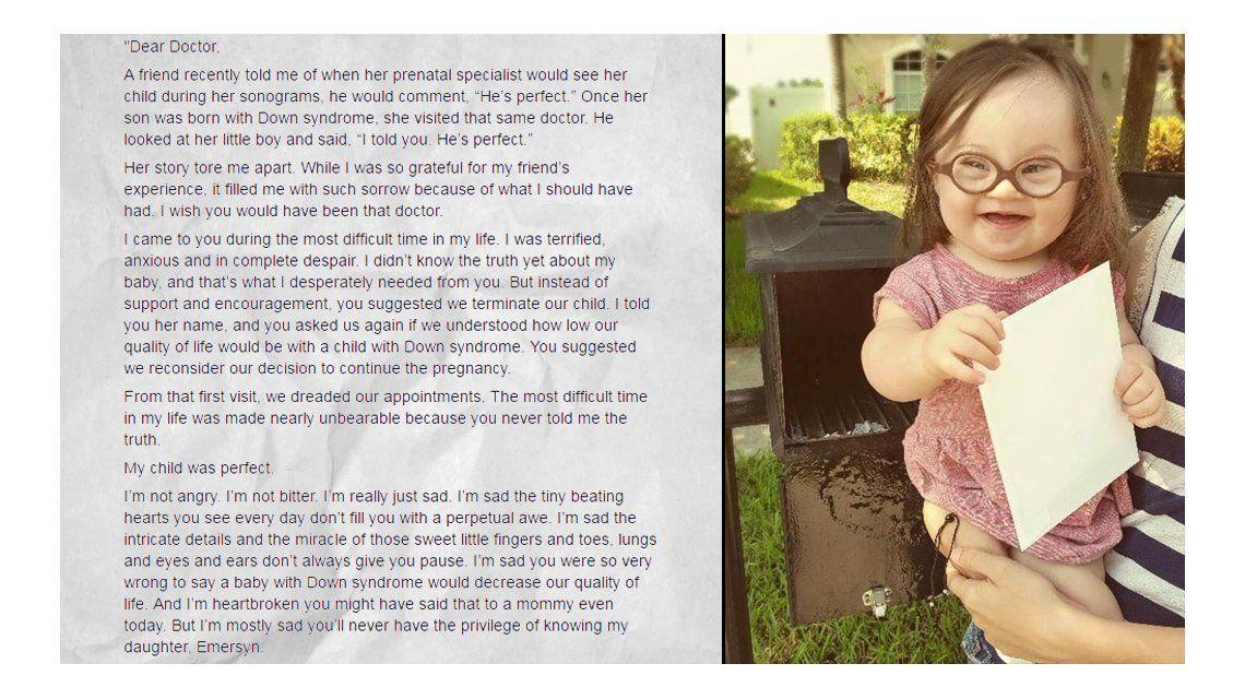La carta de una madre al médico que le sugirió abortar su bebé con Down