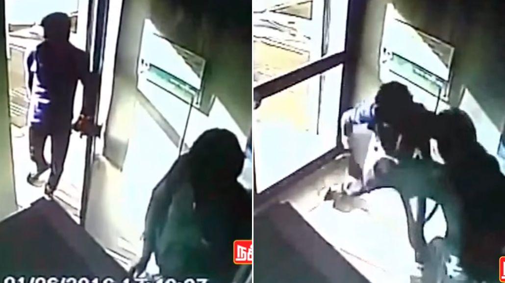 VIDEO: Lo apuñalaron por la espalda cuando sacaba dinero del cajero