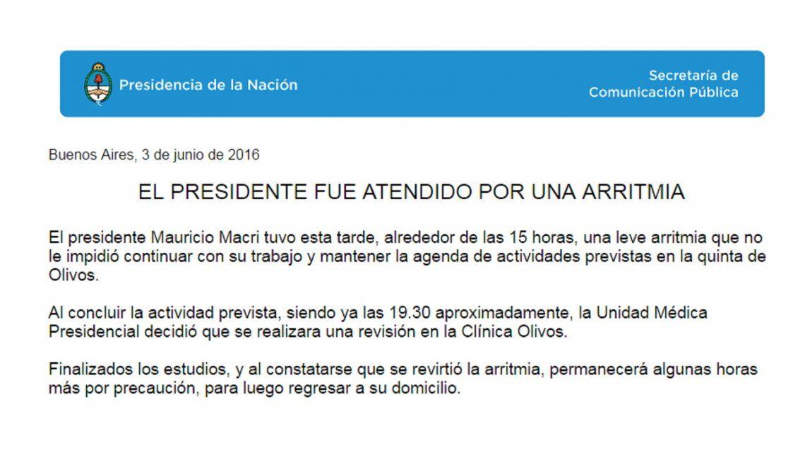 Éste es el comunicado oficial sobre la salud de Mauricio Macri