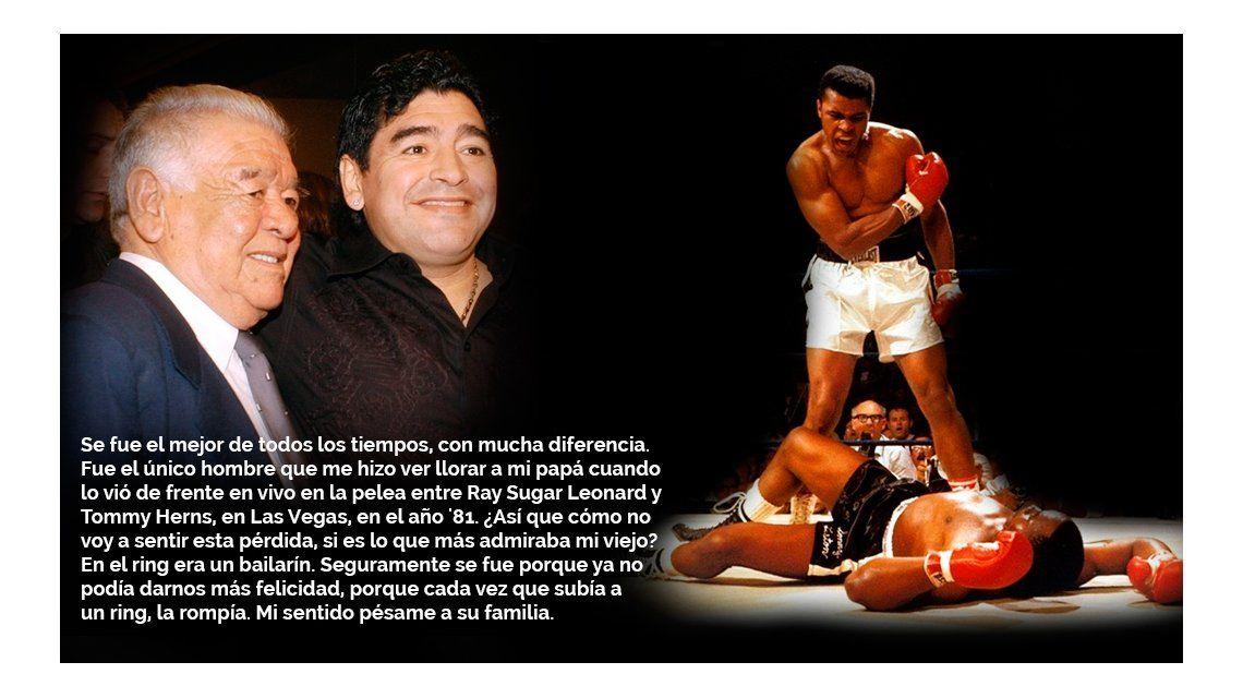 La emotiva despedida de Maradona a Ali: Era lo que más admiraba mi viejo