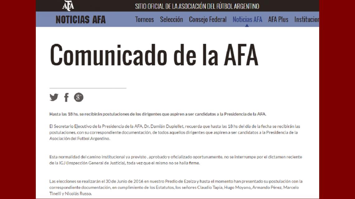 La AFA desafía a la IGJ y no suspende las elecciones del 30 de junio