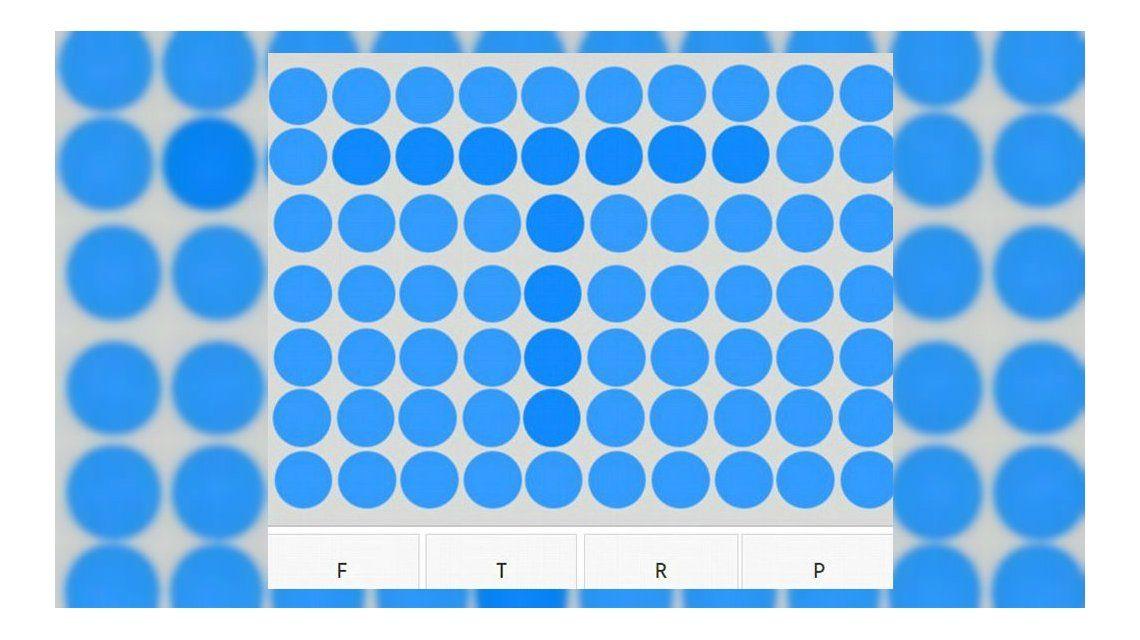 ¿Cuál es la letra escondida en los puntos de colores?