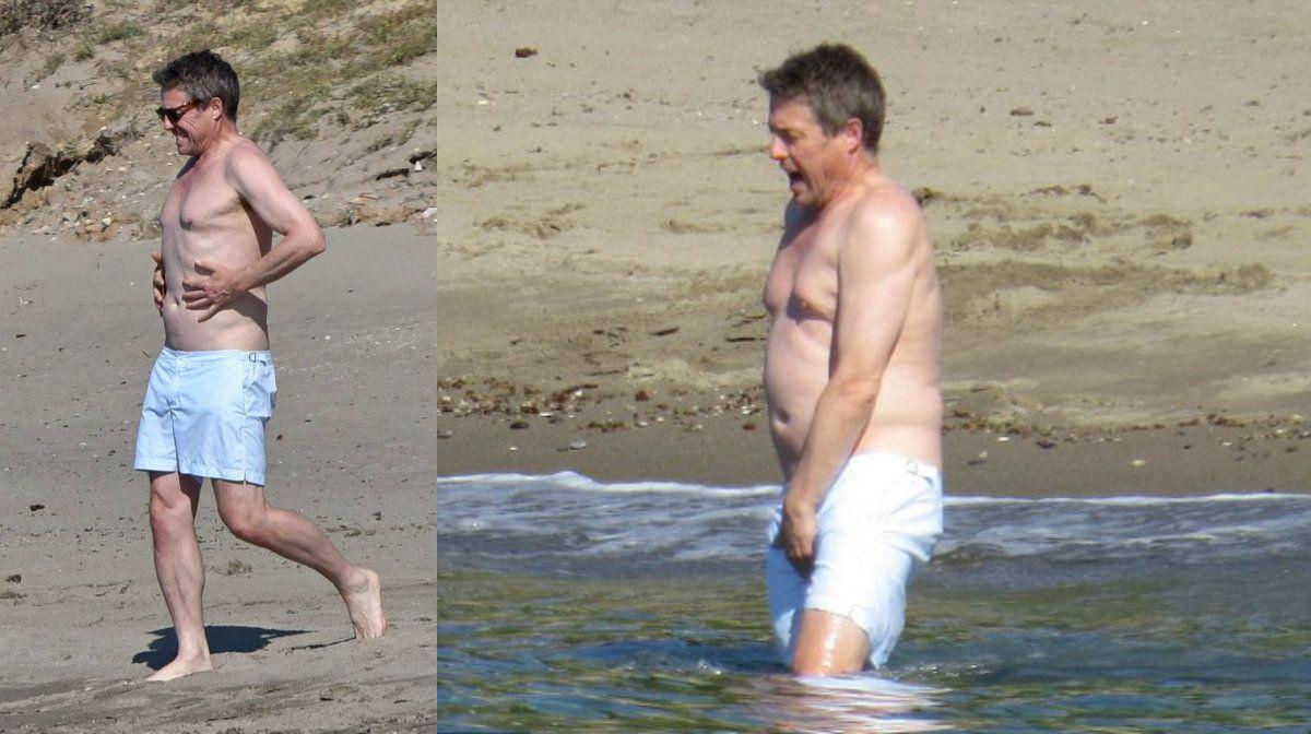 El ocaso de un galán: Hugh Grant se relajó en el mar y sufrió el frío