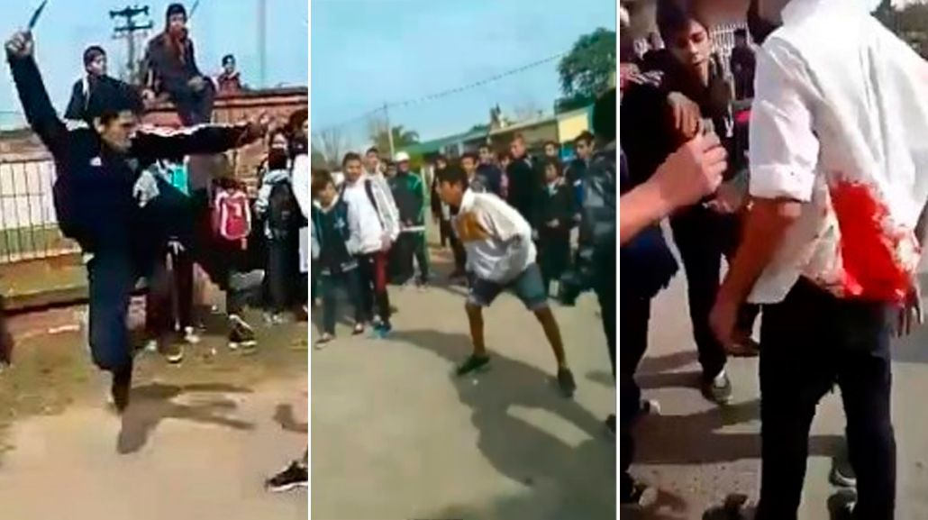 VIDEO: Con cuchillos, palos y piedras, alumnos se pelean a la salida del colegio