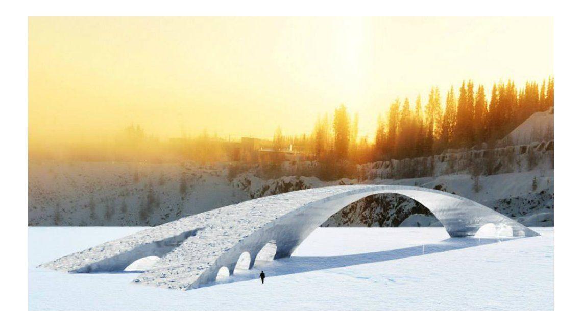 Construyen en Finlandia un puente de hielo diseñado por Leonardo da Vinci