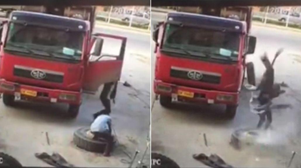 VIDEO: Así voló un mecánico chino mientras inflaba una goma