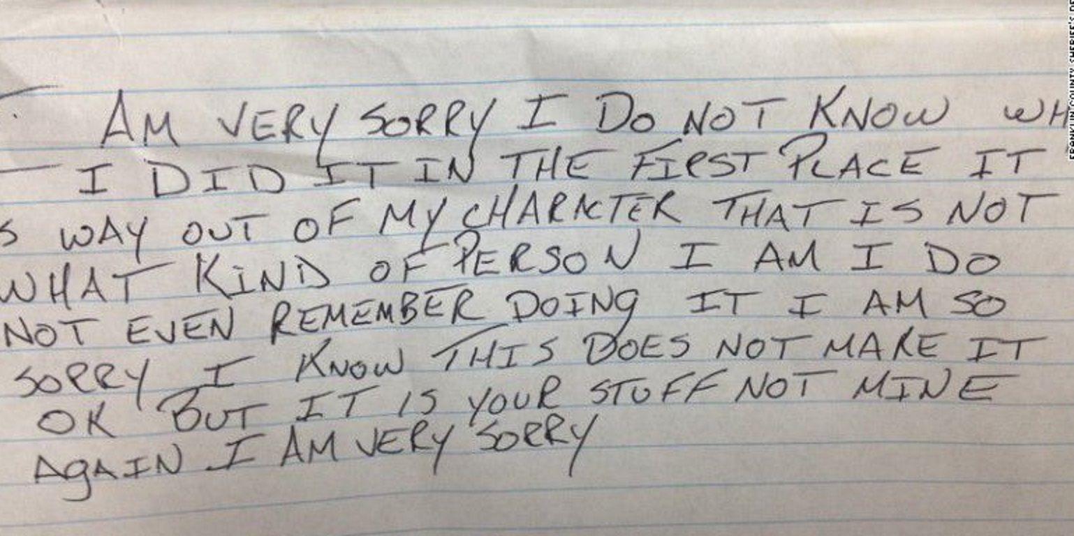 Ladrón arrepentido: robó y devolvió los artículos con una nota pidiendo disculpas
