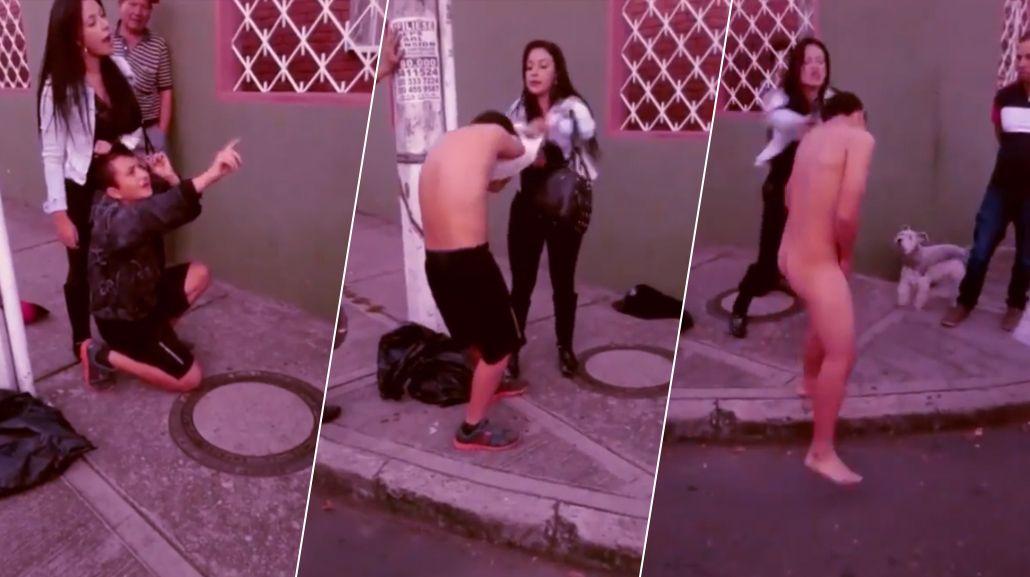 VIDEO: Una mujer detuvo a un ladrón que trató de asaltarla, le dio una paliza y lo desnudó