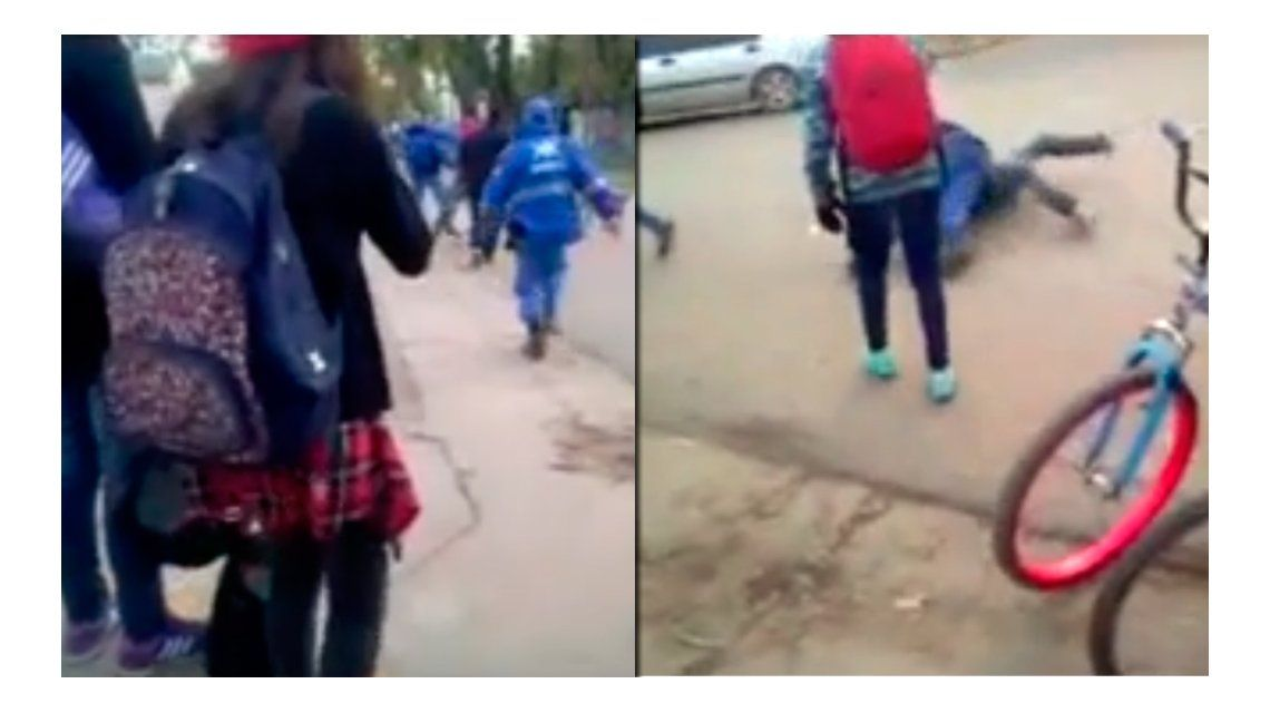 VIDEO: Alumnos de un colegio golpearon a un policía local y lo viralizaron