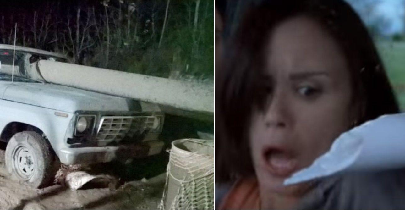 De película: un caño atravesó de punta a punta su camioneta y se salvó de milagro