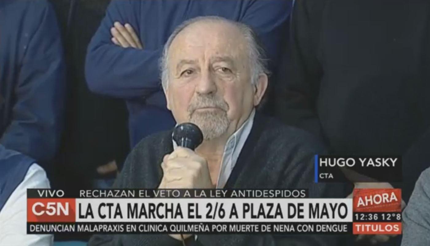 Con críticas a la CGT, la CTA anunció una marcha para el 2 de junio a Plaza de Mayo