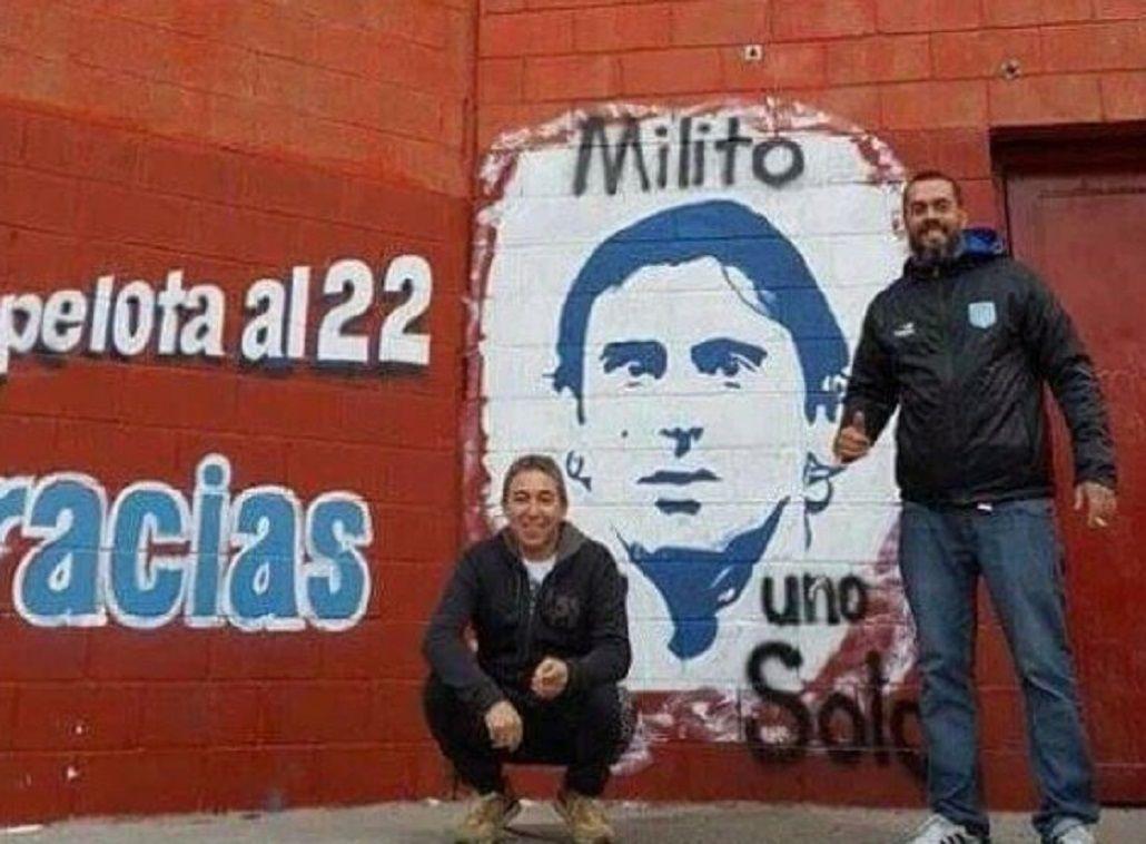 Osados: hinchas de Racing pintaron un mural de Diego Milito en la cancha del Rojo