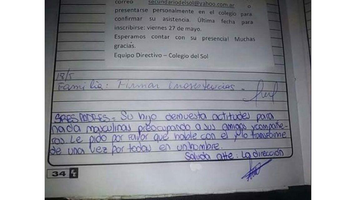 Habló el colegio: La nota la escribieron dos alumnos y ya tomamos medidas