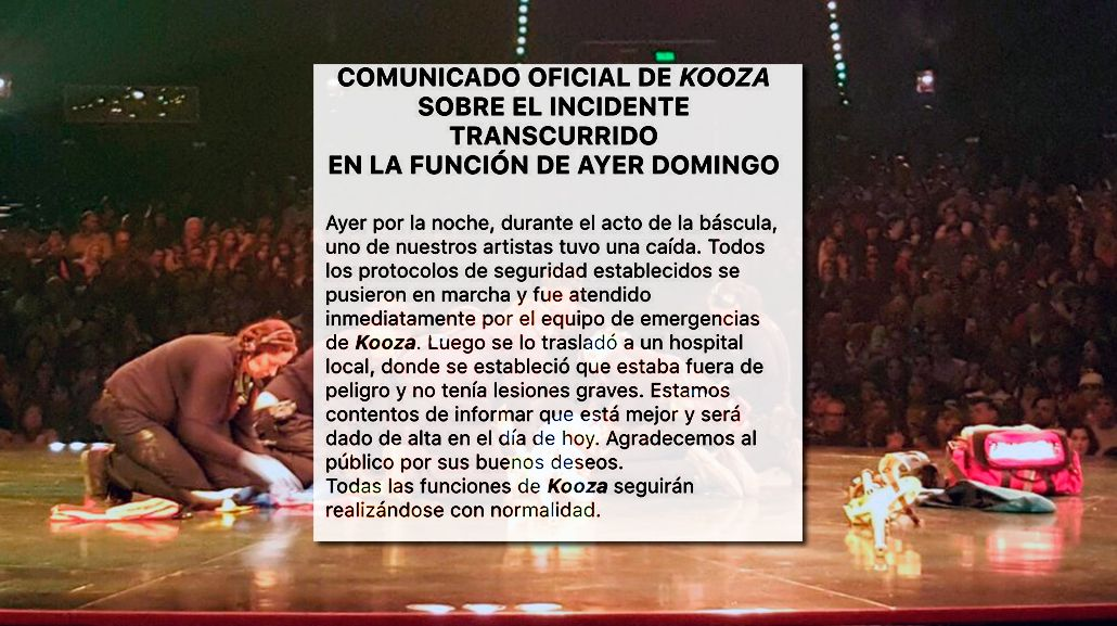 El Cirque du Soleil emitió un comunicado y dijo que el acróbata será dado de alta