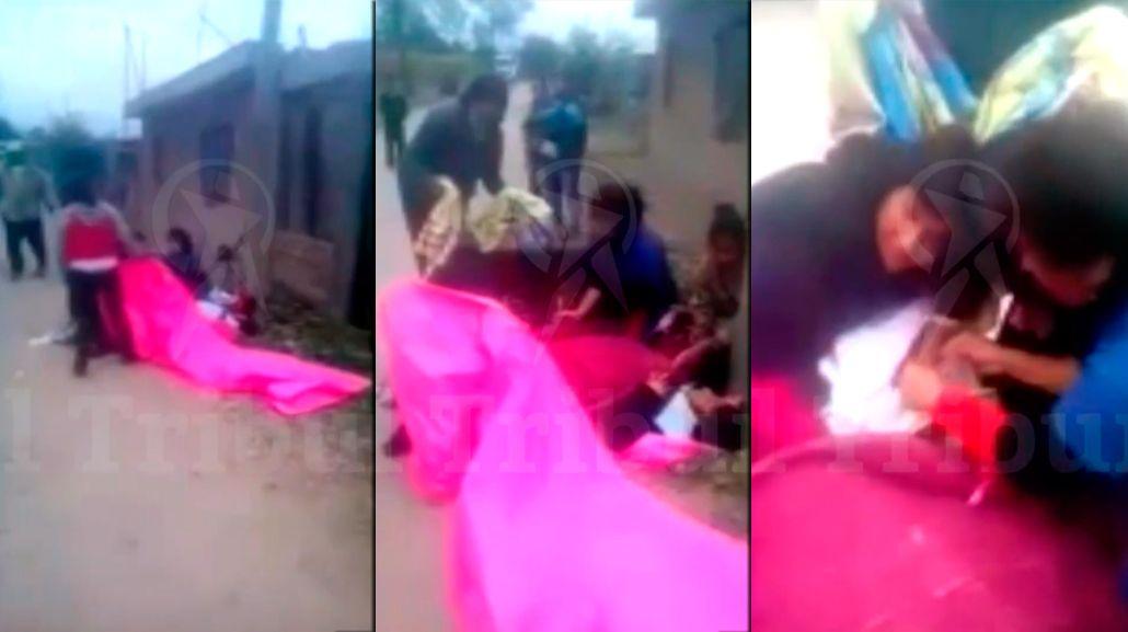 VIDEO: Con la ayuda de sus vecinos, dio a luz en plena calle