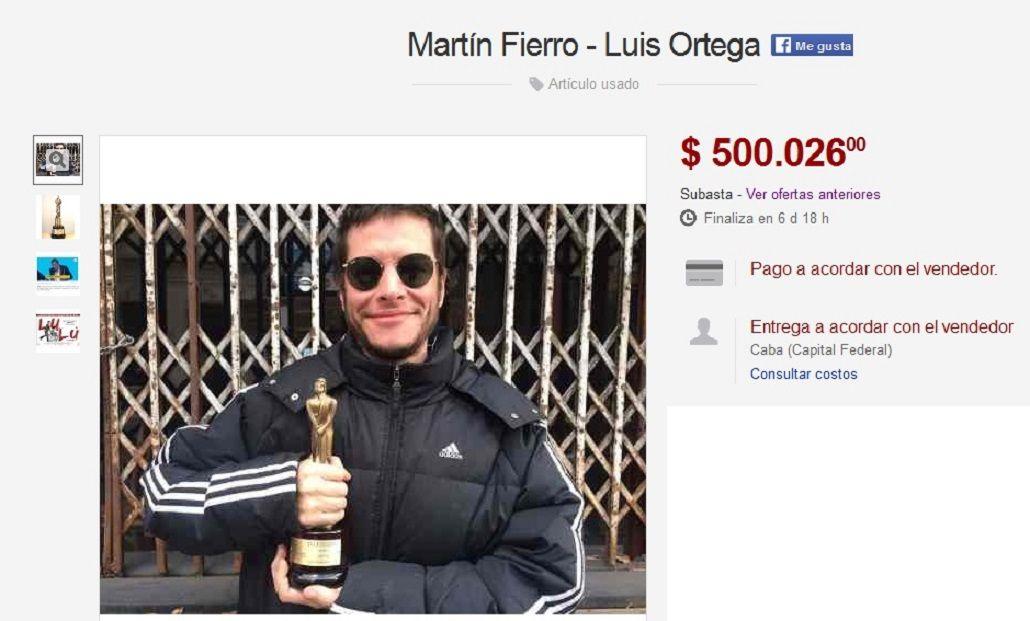 Luis Ortega subastó el Martín Fierro que ganó por Historia de un Clan