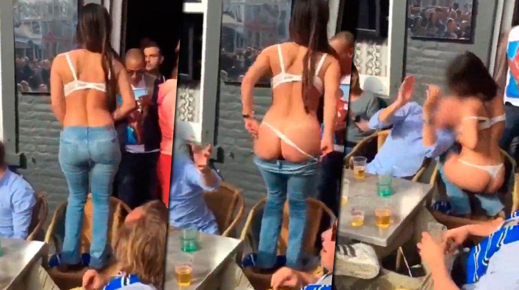 Se desnudó en la vía pública mientras festejaba el título de su equipo
