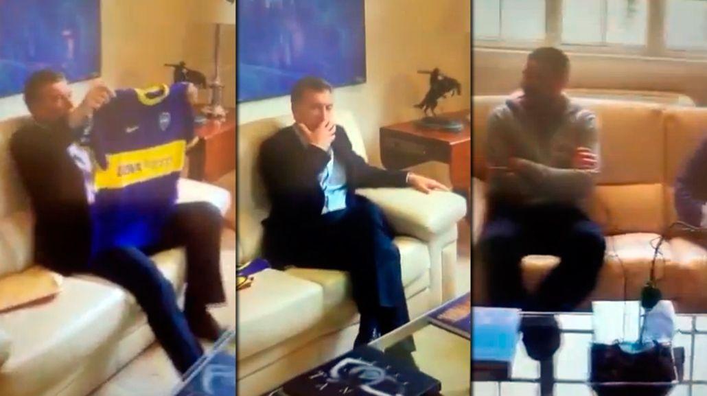 Macri recibió a Riquelme en Olivos y publicó las fotos en Snapchat
