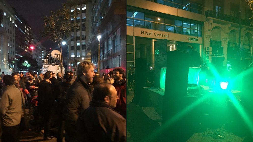 Organizaron una fiesta electrónica como protesta frente a la Legislatura
