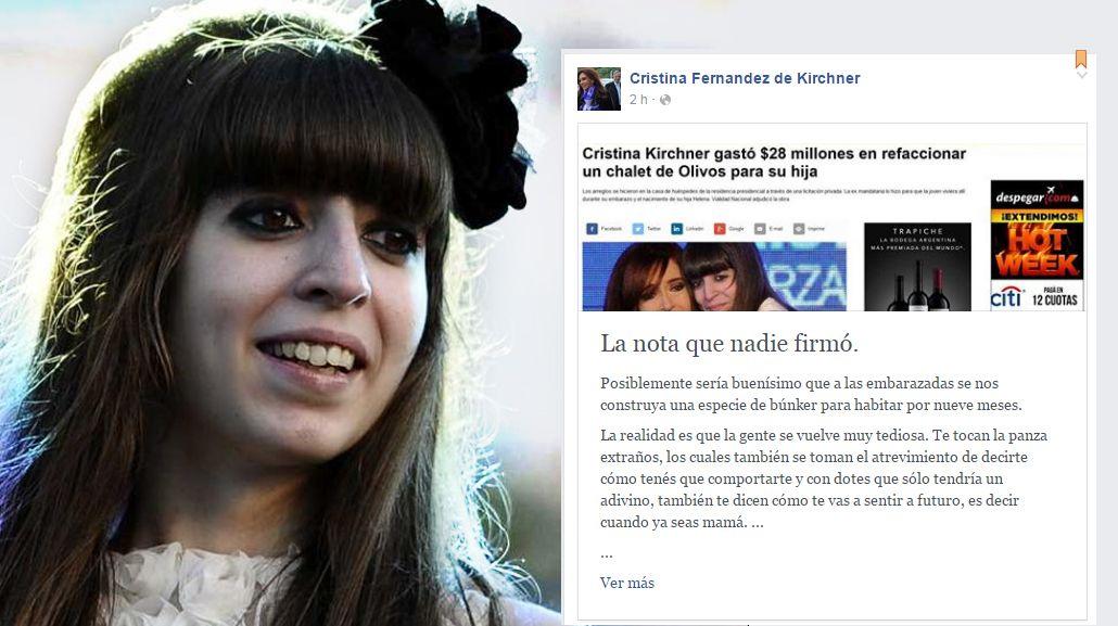 Florencia Kirchner negó arreglos millonarios en Olivos y cargó contra Macri