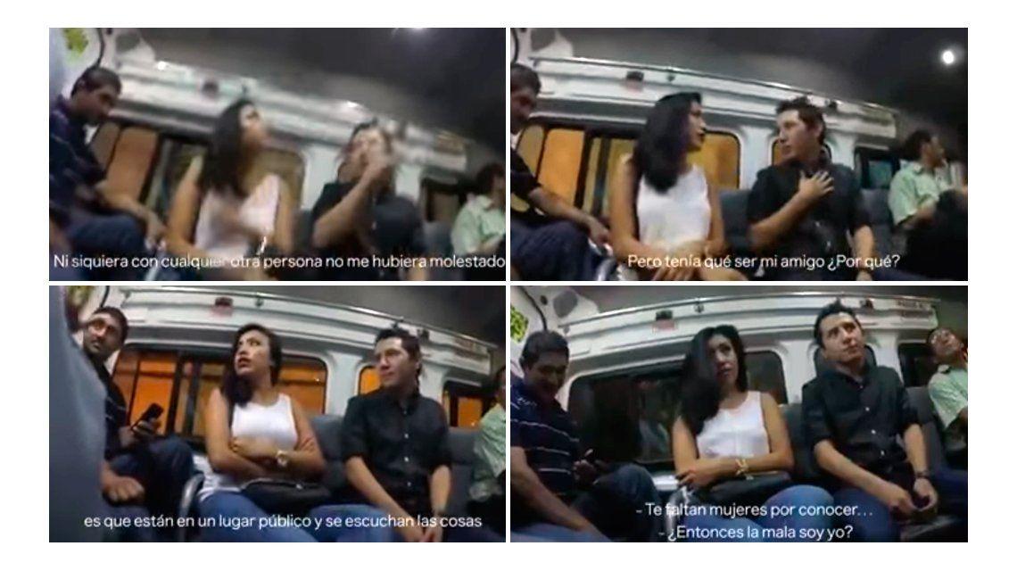 VIDEO: En pleno colectivo, una chica le confesó a su novio que le fue infiel con un amigo