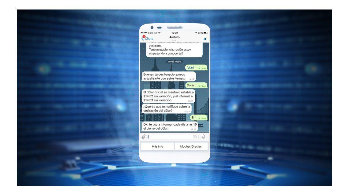 Informate con el bot de Telegram de ámbito.com