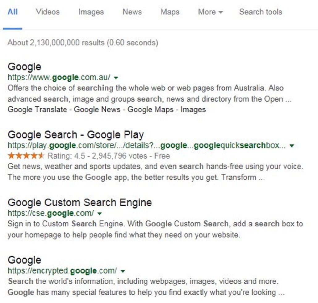 Google experimenta cambiar el color de los links de azul a negro